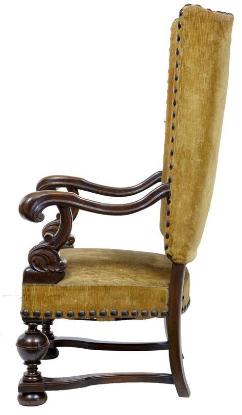 19th century oak large high back armchair for