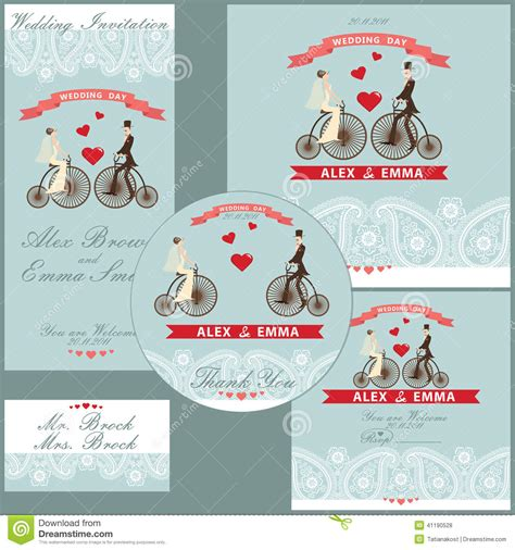 cartoon wedding couple on retro bike design template set