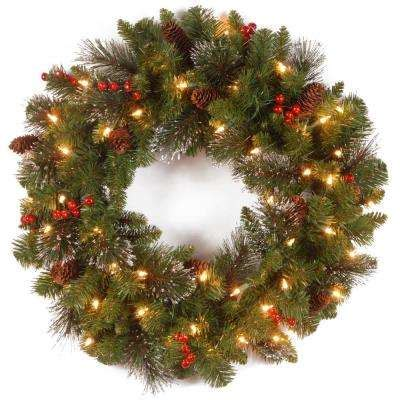 5 or larger led pre lit christmas wreath wreaths greenery the home depot