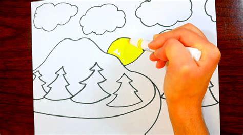 Tutorial Menggambar Gunung | cara menggambar gunung untuk anak sangat mudah