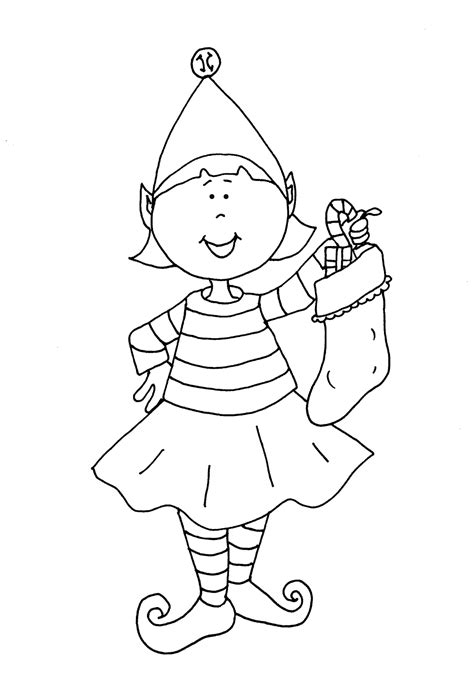 free coloring pages of girl elf