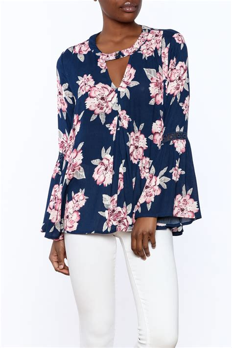 1 funky floral bell sleeve top from california by yuni