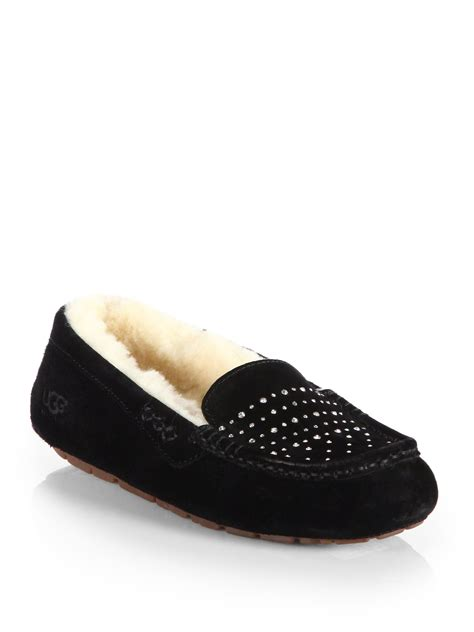ugg slippers ansley ugg ansley suede bling slippers in black lyst