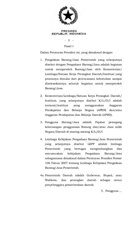 Perpres No 35 Tentang Pengadaan Barang Dan Jasa Pemerintah perpres no 70 2012 tentang pengadaan barang dan jasa