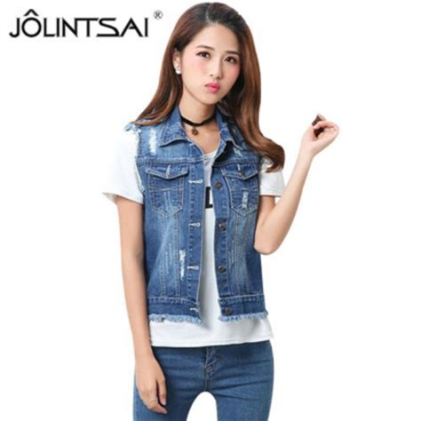 buy high quality fashion womens denim vests autumn sleeveless ripped buttons tassel casual