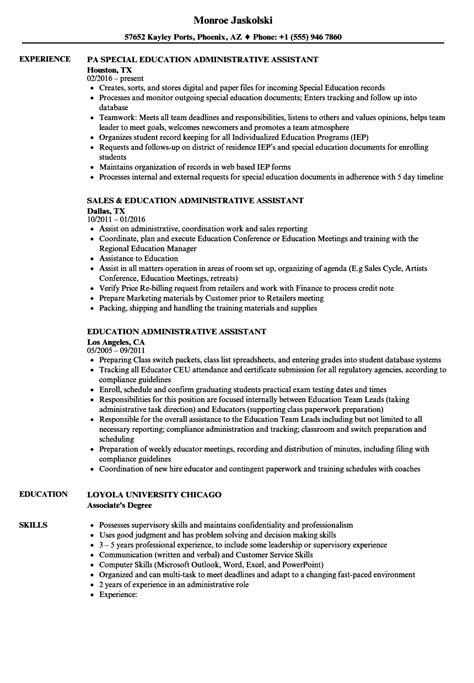 Resume For Administrative Assistant In Education education administrative assistant resume sles velvet