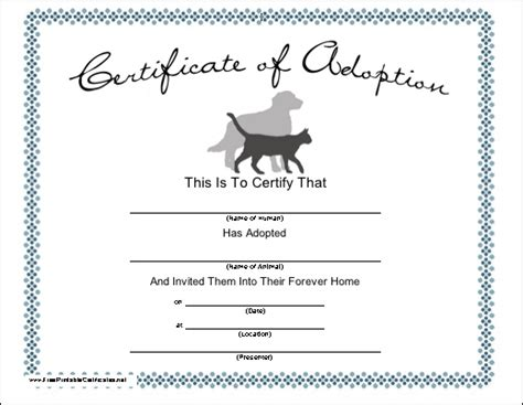 Pet Adoption Certificate Template blank adoption certificate for a adopt a puppy birthday