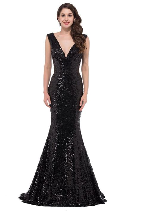 Simple Mermaid Deep V Neck Sleeveless Black Sequin Prom