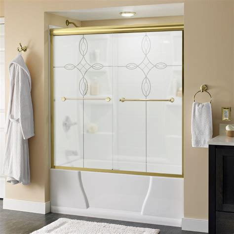 bathtub doors home depot delta crestfield 60 in x 58 1 8 in semi frameless