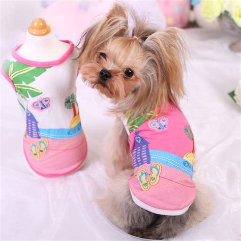 yorkie hawaii new small hawaii vest t shirt clothes chihuahua yorkie pink white cotton apparel