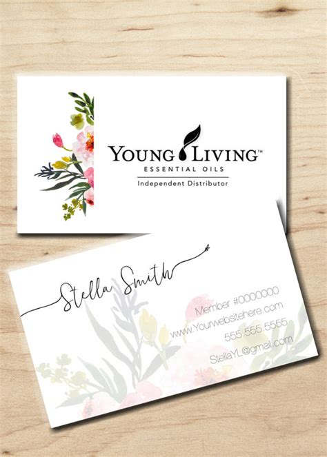 printable young living business cards young living business card personalized by