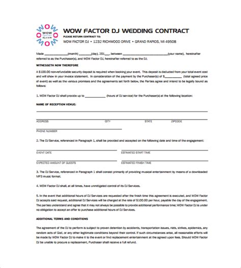 dj contract 14 documents in pdf