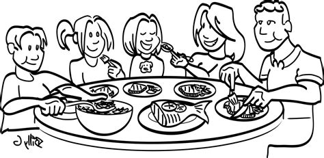 chicken supper coloring page dinner clean clip art family meal black and white clipart