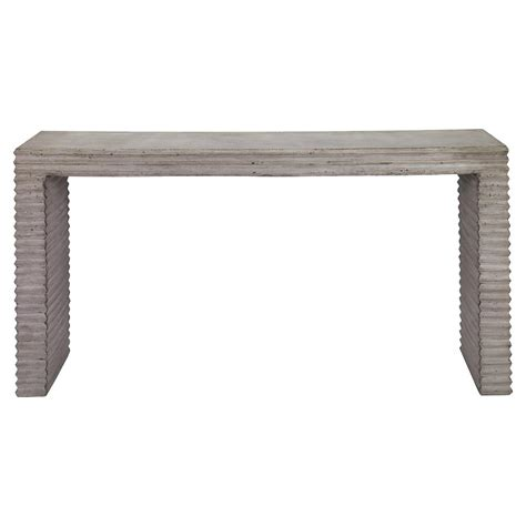Outdoor Console Table Tina Industrial Grey Corrugated Outdoor Console Table Kathy Kuo Home