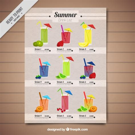 Cute Tropical Drink List Template Vector Free Download Drink List Template