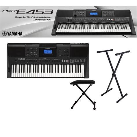 Keyboard Yamaha E453 yamaha psr e453 keyboard 61 tangenter med stativ och pall k 246 p med 229 ngerr 228 tt billig