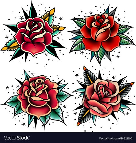 oldschool rose tattoo school roses set royalty free vector image
