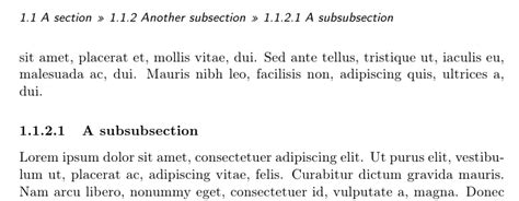 what is a sub section sectioning memoir class headers listing section