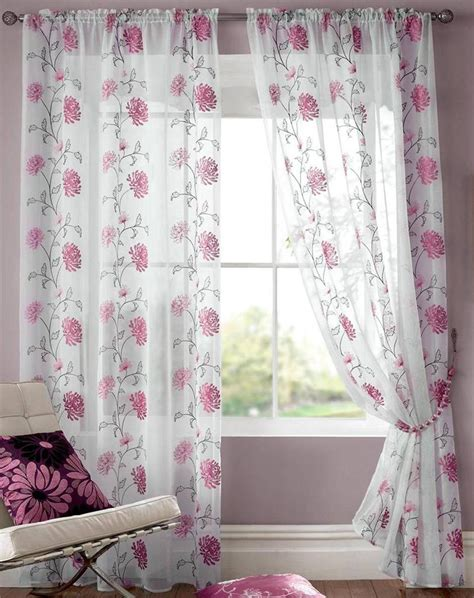 modern floral curtain panels abbie modern floral voile curtain panel available in