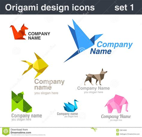 Origami Company - origami logo set 1 stock photo image 23814060