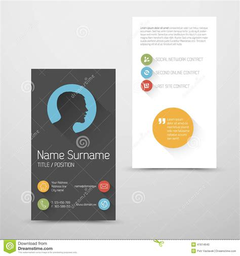 modern vertical business card template with flat user