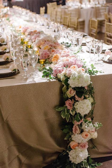 wedding reception table runners reception d 233 cor photos cascading floral table runner