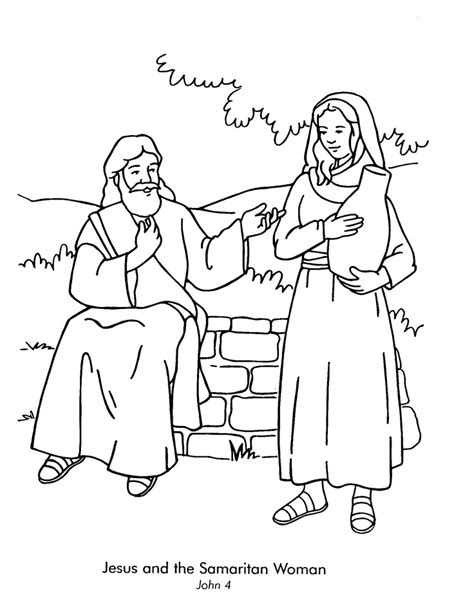 woman at the well coloring page az coloring pages