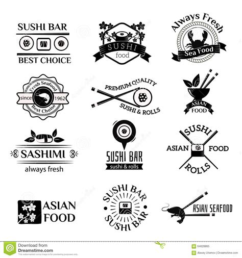 logo design white label sushi logo icons vector set stock vector image 64628865