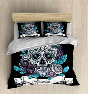 Duvet Comforter Cover Skull Bedding Personalized Sugar Skulls Bedding By