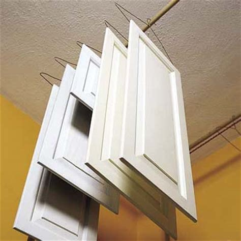 Spraying Kitchen Cabinet Doors Hang Cabinets To Between Coats Pro Secrets For