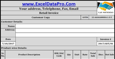 format excel gst download gst invoice format for retailers in excel