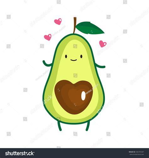 Illustration Cute Avocado Vector Illustration Stock Vector