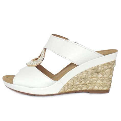 gabor sizzle s modern wide fit white leather wedge