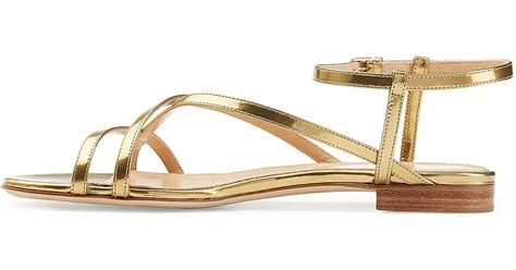 sergio gold sandals lyst sergio patent leather flat sandals gold in