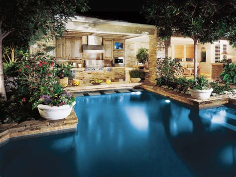 outdoor kitchen pool ideas swimming pool specialty features hgtv