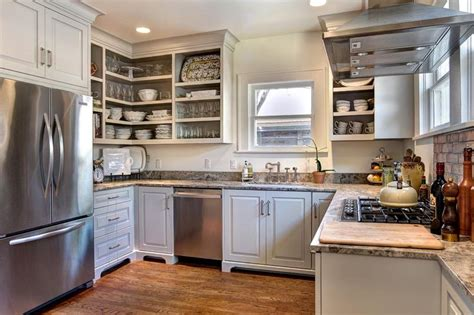 kitchen without cabinet doors the kitchen is just granite in gray and white