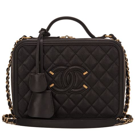 Chanel Vanity 1 chanel black caviar medium filigree vanity world s best