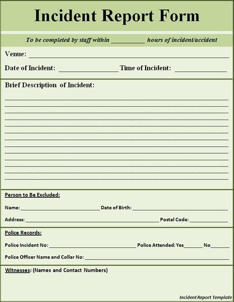 incident report form template printable sle report template form laywers