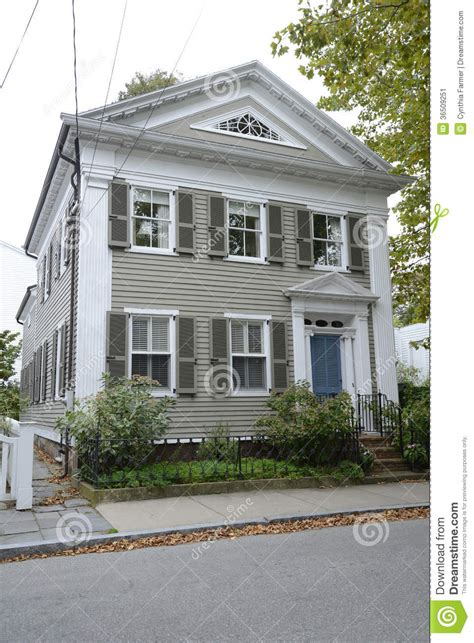 federal style house tan federal style house in stonington connecticut stock image image 36509251
