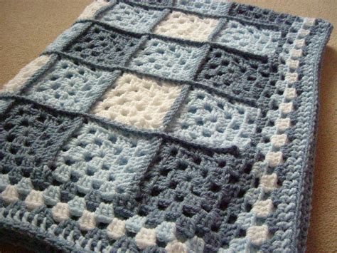 Handmade Baby Blanket - handmade baby blanket in blue s and white crochet