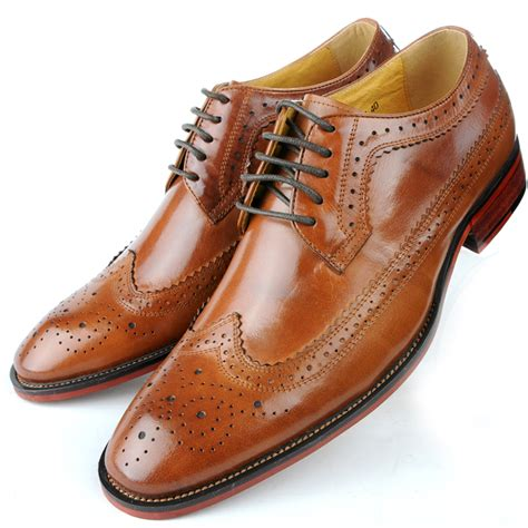 leather brogue wingtip lace up formal dress shoes oxford