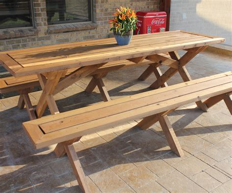 sleek picnic table  detached benches  steps