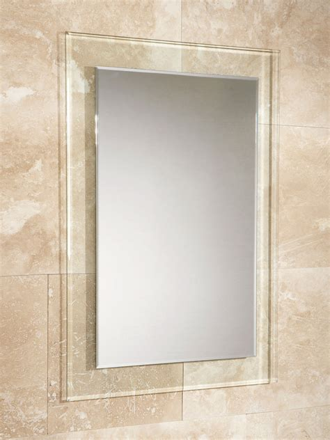 bathroom glass mirrors hib lola bevelled edge mirror with clear glass frame 500 x