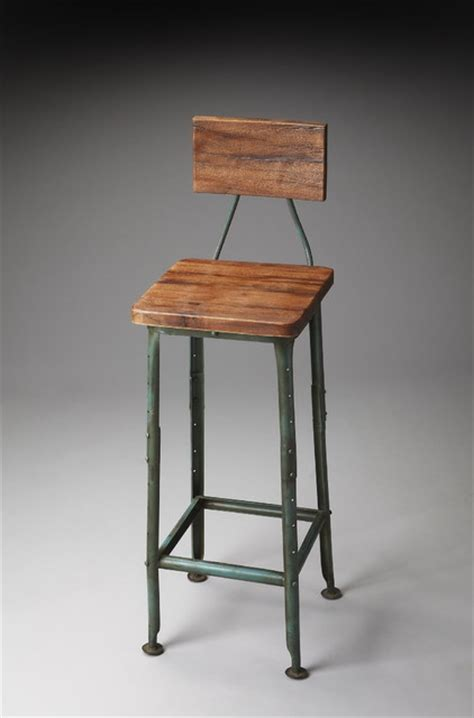 rustic kitchen stools uk metalworks bar stool with wooden seat and back rustic