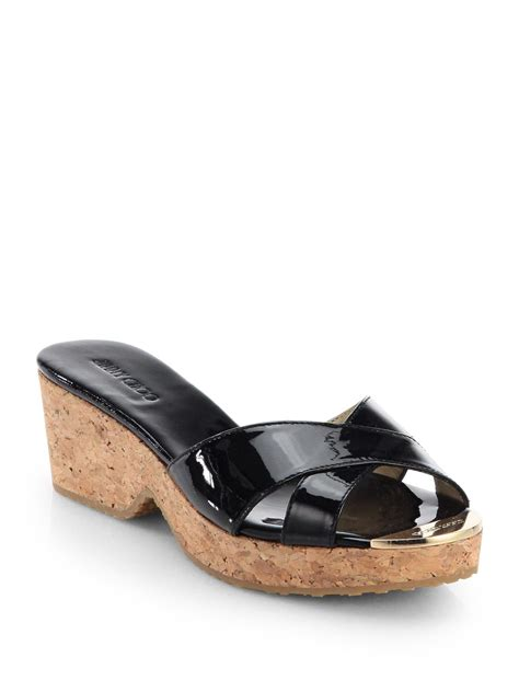 Mossimo Parry Patent Cork Slide Wedges by Jimmy Choo Panna Patent Leather Cork Wedge Slides In Black