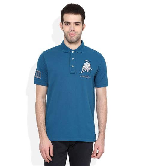 Lamborghini T Shirt Polo by Automobili Lamborghini Blue Regular Fit Polo T Shirt Buy