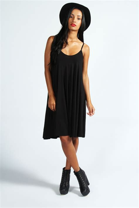 swing dresses boohoo strappy swing dress in black ebay