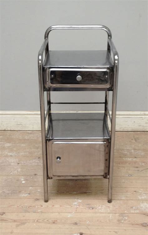 Metal Table A2349 Vintage Polished Steel Bedside Cabinet