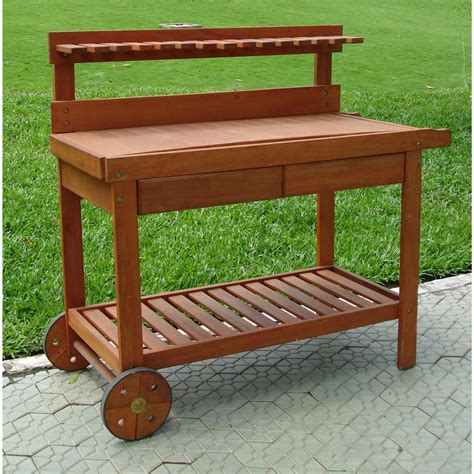 wooden potting bench vifah 174 wood potting bench 218679 patio furniture at sportsman s guide