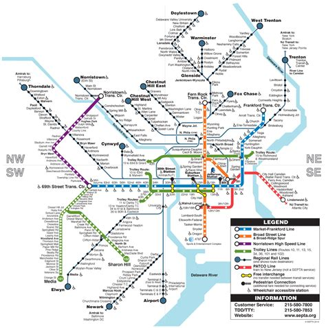 septa clickable regional rail amp rail transit map